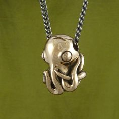 "Octopus Necklace Bronze Octopus Pendant on 24"" Gunmetal Chain - Octopus Jewelry. $50.00, via Etsy."