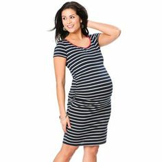 Oh Baby by Motherhood Striped Ruched Dress - Maternity