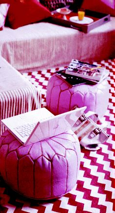 Madeline Weinrib Red Zig Zag Cotton Carpet featured in Domino November 2005