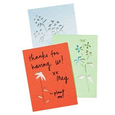 Thank-you note made from seed paper