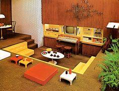 interior design, living rooms, interiors, sunken live, 1970s, hous, yellow, homes, home improvements