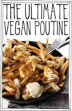 Classic Canadian comfort food: The Ultimate Vegan Poutine. Baked crispy French fries, topped with quick and easy dairy-free cheese curds, smothered in rich onion gravy. #itdoesnttastelikechicken