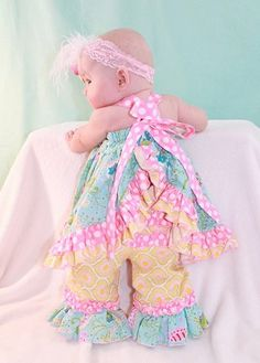 Sophia's Open Back Dress pdf sewing pattern for babies by Create Kids Couture! This dress is so lovely with its double layers of ruffles and open back to showcase ruffle butt pants or diaper cover! Pairs great with our Olivia or Sadie patterns!
