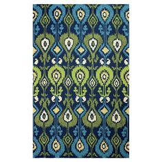 Anchor your dining table or living room seating group in style with this hand-hooked rug, showcasing an ikat motif in blue.  Product...