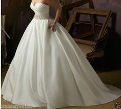 New white/ivory Satin Wedding dress Custom Size 2-4-6-8-10-12-14-16-18-20-22++++