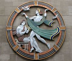 """Song"", enamel medallion by Hildreth Meiere, Radio City Music Hall, Rockefeller Center, New York radio citi, citi 2b, music hall, nueva york, hildreth meier, favorit citi, citi music"