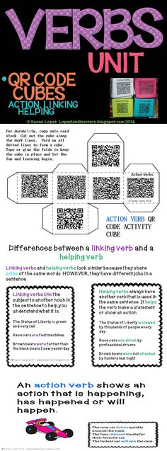 This 17 page set features posters explaining action, linking and helping verbs, examples, 2 songs, and 3 QR Code Cubes with 6 writing prompts each. Standards covered are from 2nd through 6th grade. Posters include Verbs, Action Verbs, Linking Verbs, Helping Verbs, & Differences Between Linking & Helping Verbs. Included is a combination of narrative, opinion, and poetry