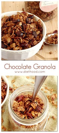 Chocolate Granola | www.diethood.com | Breakfast never tasted SO GOOD! It's healthy, too!! This is my family's favorite granola!