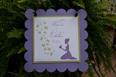 Princess and the Frog Back yard Weddig Reception Ideas - I created a sign welcoming the guests to Cibella's Place which was hung among baskets of ferns. - Change the sign to reflect the Couple!  |  real parties « Belleza e Luce