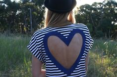 #fashion #blue #white #navy #heart #cutout #heartback #shirts #cute