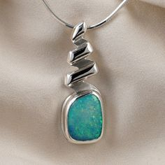 Opal Spiral Pendant Necklace in Sterling Silver