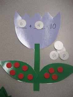 Kinder Doodles: Tulip patterns for making number bonds up to 10