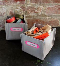 DIY fabric boxes.