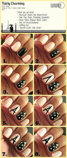 eiffel tower nails, nail art tutorials, polka dots, nail arts, diy nail