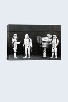 Street Art: Stormtroopers Filming Oscars 18in x 12in Canvas Print