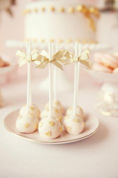 cake pops, blush with mini gold hearts