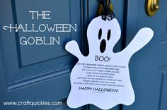 """The Halloween Goblin & printable- so much fun to """"ding dong ditch"""" the neighbors!"""