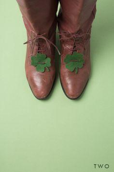 green shamrocks on shoes