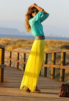 Beautiful yellow maxi skirt