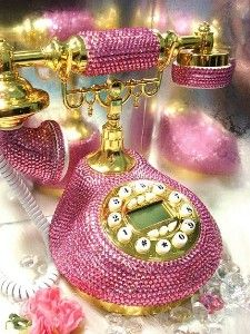 Pink Swarovski Vintage Phone
