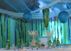 birthday parties, chinese lanterns, the ocean, sea, ocean birthday, mermaid birthday, ocean party, mermaid lagoon, birthday decorations