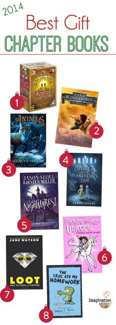 If you have a child who reads chapter books or YA books, Imagination Soup picks the BEST books of 2014. (Middle grade book list shown.)