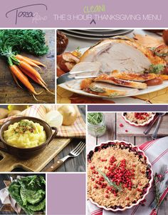 #HappyThanksgiving! Think making a killer #EatClean #Thanksgiving feast means spending all day in the kitchen? Think again! I pulled it off in just 3 hours and you can too with this #menu! Check out my 5 delicious and festive #EatCleanDiet #recipes. #holiday #meal #turkey #cleanholiday #eatcleanholiday #toscareno #carrots #mashedpotato #eatcleanrecipes #celeriac #carrots #sage #applecrisp #cranberry