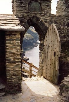 Stairway to the sea, Tintagel castle, Cornwall, England. 13th c