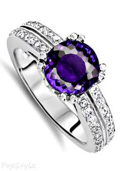 Genuine Purple Amethyst Ring