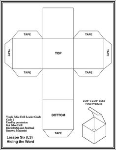 Download and print off  the cube template on cardstock and assemble.  Use to create games to review the books of the Bible.  1 - Write a Bible Division on each side.  Drillers must name a book in the division.  2 - Write a command on each side of the cube - tell the book before, tell the book after, locate the book, etc. Activity helps build Bible skills as leader calls out a book of the Bible, they roll the cube and do whatever it says.