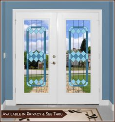 Cambridge I Door Panel (See-Thru) - Tones of blue are artfully presented in this elegant stained glass design.