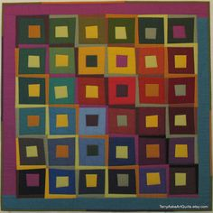 "Modern Art Quilt Wall Hanging - ""Steps and Squares"""