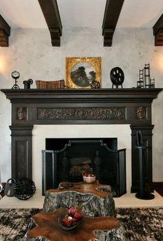 Vintage carved fireplace mantel