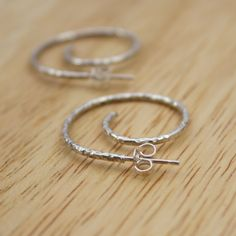 Sterling Silver Textured Curl Hoop Earrings with Butterfly Backs (ETSY)
