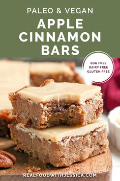 These Paleo Vegan Apple Cinnamon Bars are so delicious and simple to make. A moist cookie base with a sweet frosting. They are gluten free, dairy free, egg free, and naturally sweetened. #paleo #vegan #applebars #applecinnamonbars #glutenfree #healthy #easyrecipe #dairyfree | realfoodwithjessica.com @realfoodwithjessica