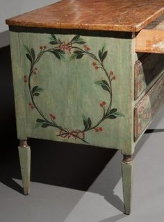 Italian neoclassical painted commode italian neoclass, paint commod, neoclass paint, galleries, paint furnitur, neoclassical furniture, kitchen cupboard, decor furnitur, paint wreath