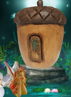 Acorn Fairy House in the fairy garden.
