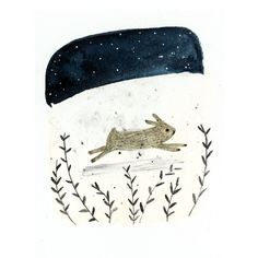 Art print  Run Rabbit  digital print by inmybackyard