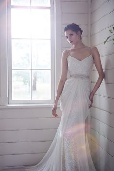 love the draping on this gorgeous gown