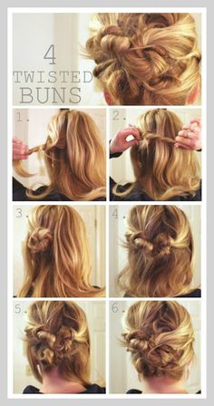 4 Twisted Messy Buns..she has an amazing collection of hair styles