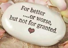 For better or worse but not for granted.  I like this - would be cute made into a sign for your wedding day ceremony or reception decor http://www.pinterest.com/JessicaMpins/