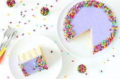 Grab a Slice of Our Lemon Lavender Champagne Cake via Brit + Co.