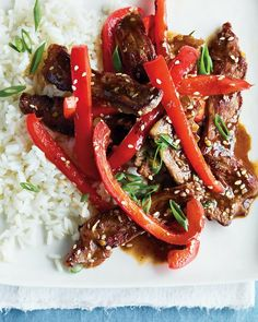 Sesame Beef - Martha Stewart Recipes.  Double the sauce ingredients.  Also, I used cubed steak for its tenderness. - Trying this week... w/ cubed steak... & fried brown rice...