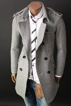 Mens Grey wool trench