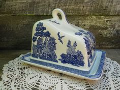 Antique LARGE English Transferware Cheese Keeper Butter Dish or Bread Keeper - Blue and White - Empire Ware England Made in Portugal on Etsy,