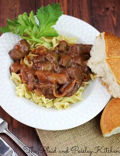 Slow Cooker Red Wine Beef Stew ~ The Plaid and Paisley Kitchen ~ www.pandpkitchen.com