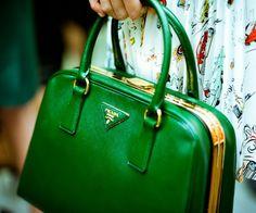 PRADA purs, emerald, designer handbags, leather handbags, prada handbags, green prada, kelly green, bold colors, designer bags