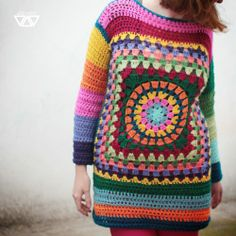 so much cute crochet on this site... pattern, ganni squar, color, afghan, crochet sweaters, granny squares, granni squar, yarn