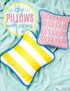 Today I get to teach you something new- how to sew a pillow cover  with piping! I just love the added pop of color you can get with a contrasting  piping. #sewing  #sewingideas #sewingprojects #easysewingideas #sewingprojectsforbeginners  #sewingforbeginners #sewingprojectsforteens #easysewingideas #sewingtips