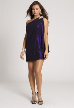 Short Dresses - Short Metallic Chiffon One Shoulder Prom Dress from Camille La Vie and Group USA